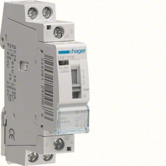 Hager ERC216 Relé, 2Z, 16A, 230V AC, I-0-II, moduláris