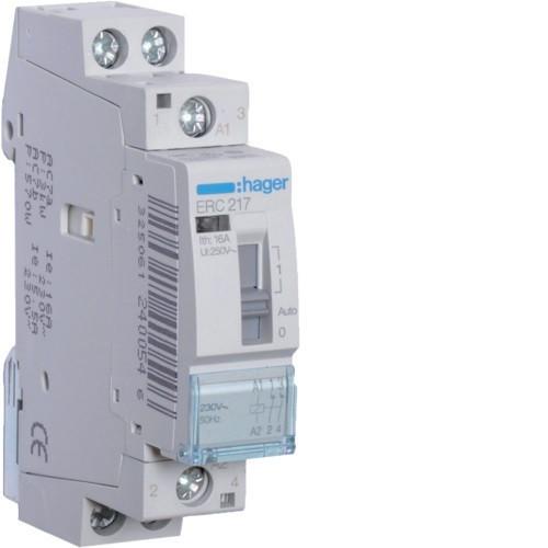 Hager ERC217 Relé, 2NY, 16A, 230V AC, I-0-II, moduláris