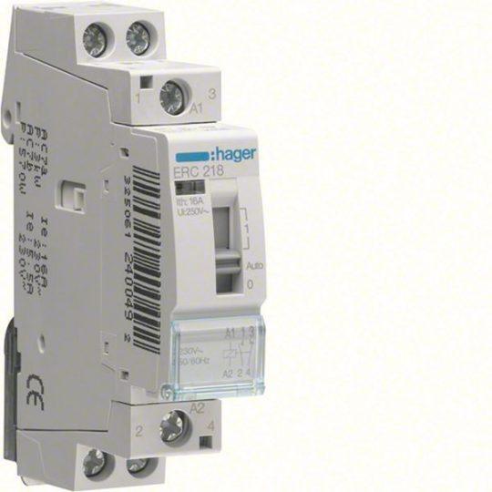 Hager ERC218 Relé, 1Z+1NY, 16A, 230V AC, I-0-II, moduláris