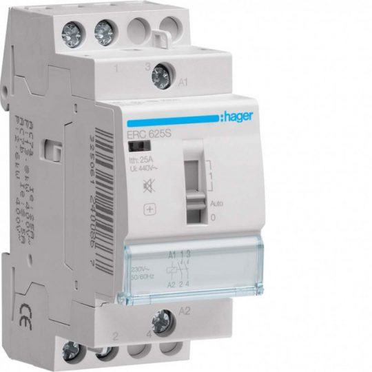 Hager ERC625S Csendes mágneskapcsoló, 2Z, 25A, 230V AC, I-0-II, moduláris, növelt kapcs.telj.