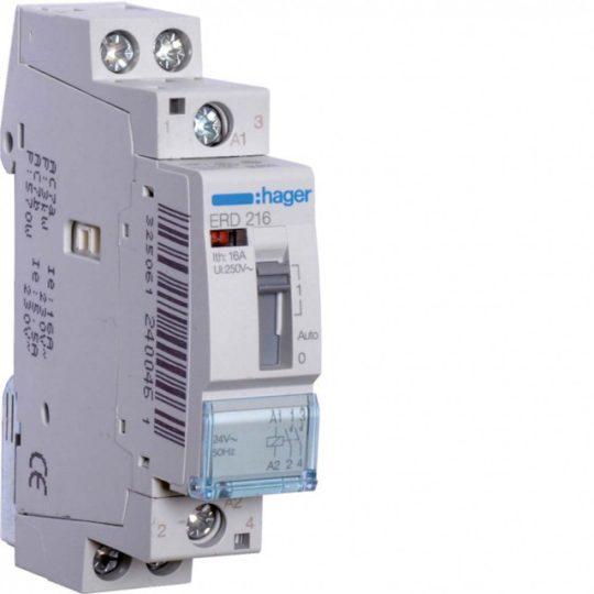 Hager ERD216 Relé kézi kapcsolású 2Z 16A 24V AC 50 Hz