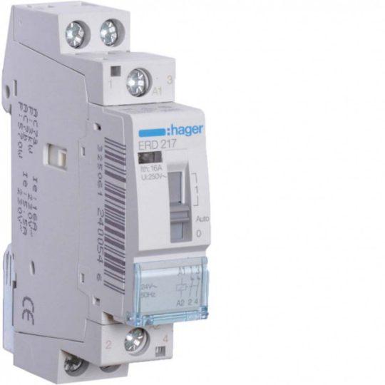 Hager ERD217 Relé kézi kapcsolású 2Ny 16A 24V AC 50 Hz