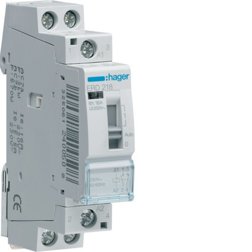 Hager ERD218 Relé, 1Z+1NY, 16A, 24V AC, I-0-II, moduláris