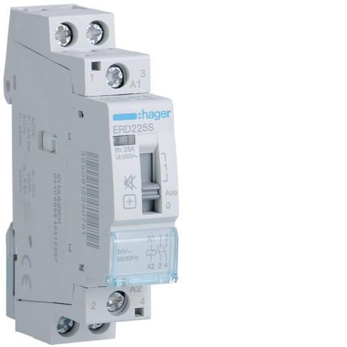 Hager ERD225S Csendes mágneskapcsoló kézi kapcsolással, 2Z, 25A, 24V AC, I-0-II, moduláris