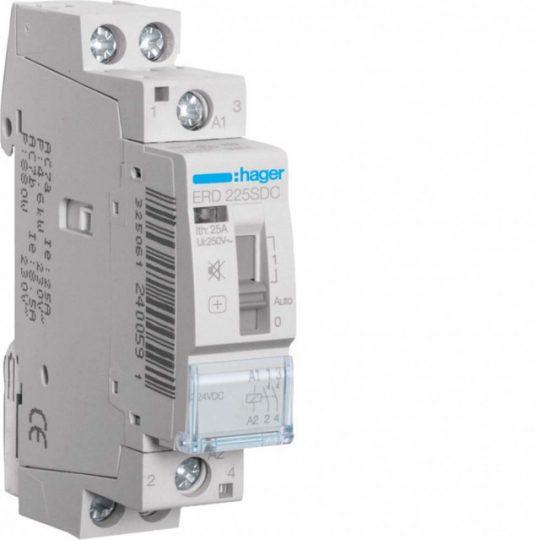 Hager ERD225SDC Csendes mágneskapcsoló kézi kapcsolással, 2Z, 25A, 24V DC, I-0-II, moduláris