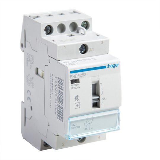 Hager ERD625S Csendes mágneskapcsoló, 2Z, 25A, 24V AC, I-0-II, moduláris, növelt kapcs.telj.