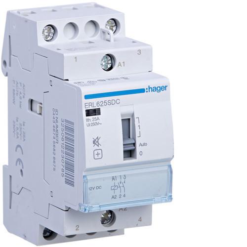 Hager ERD625SDC Csendes mágneskapcsoló, 2Z, 25A, 24V DC, I-0-II, moduláris, növelt kapcs.telj.
