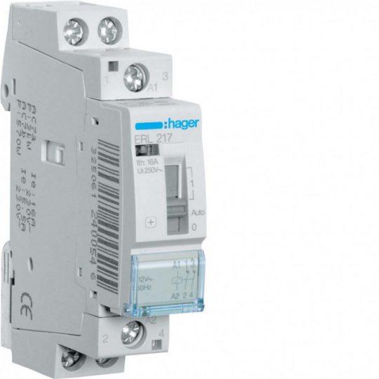 Hager ERL217 Relé kézi kapcsolású 2Ny 16A 12V AC 50 Hz