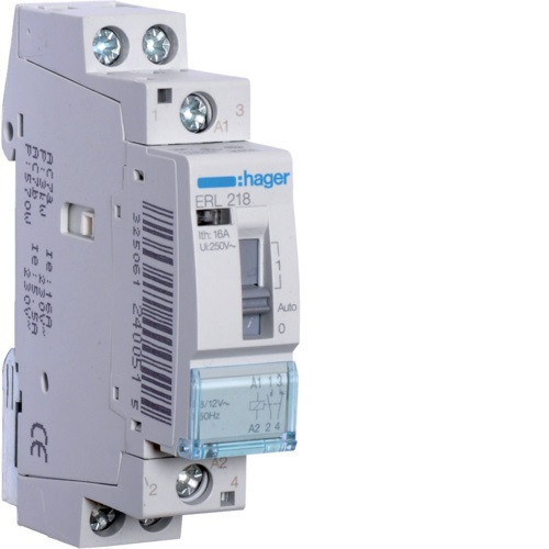 Hager ERL218 Relé, 1Z+1NY, 16A, 8/12V AC, I-0-II, moduláris
