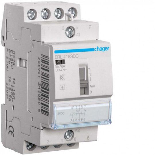 Hager ERL418SDC Mágneskapcsoló kézi kapcsolással 2Z + 2Ny 16A 12V DC 50 Hz, I-0-II, moduláris