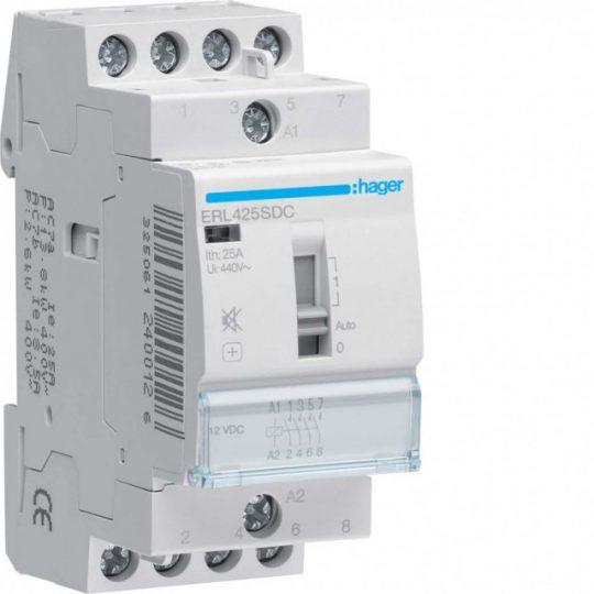 Hager ERL425SDC Csendes mágneskapcsoló kézi kapcsolással 4Z 25A 12V DC 50 Hz, I-0-II, moduláris
