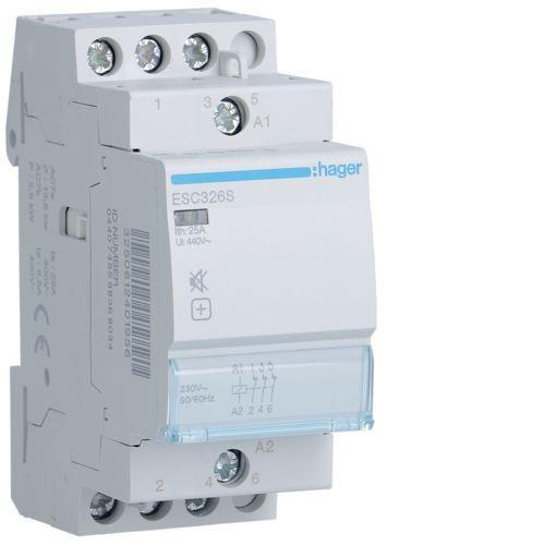 Hager ESC326S Csendes mágneskapcsoló 3Ny 25A 230V AC 50 Hz