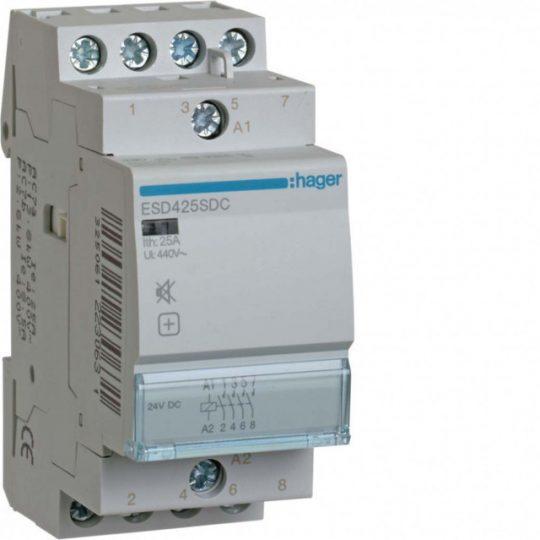 Hager ESD425SDC Csendes mágneskapcsoló, 4Z, 25A, 24V DC, moduláris