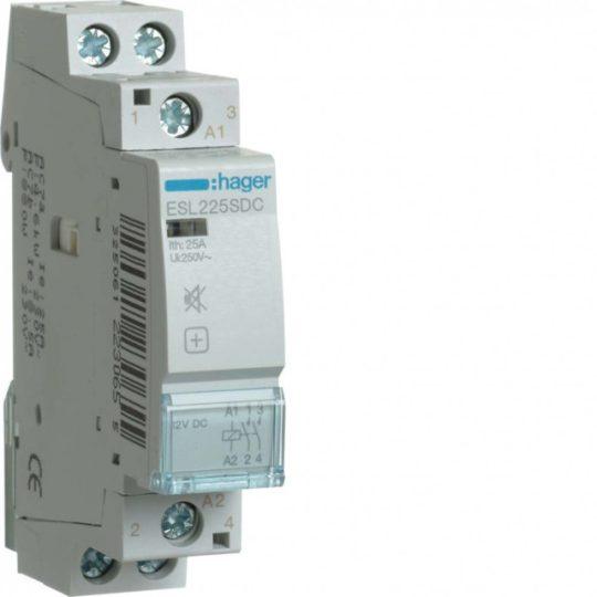 Hager ESL225SDC Csendes mágneskapcsoló 2Z 25A 12V DC 50 Hz