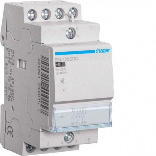 Hager ESL425SDC Csendes mágneskapcsoló 4Z 25A 12V DC 50 Hz