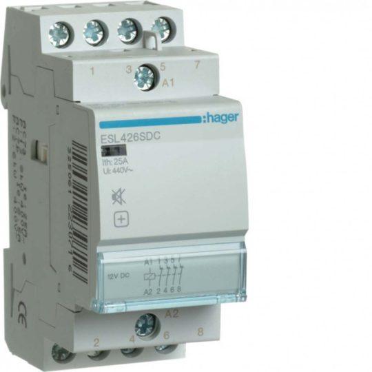 Hager ESL426SDC Csendes mágneskapcsoló 4Ny 25A 12V DC 50 Hz
