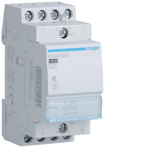 Hager ESL427SDC Csendes mágneskapcsoló 2Z + 2Ny 25A 12V DC 50 Hz