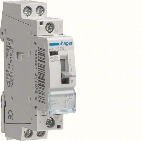 Mágneskapcsoló, 2Z, 25A, 230V AC, I-0-II, moduláris, kézzel is kapcsolható