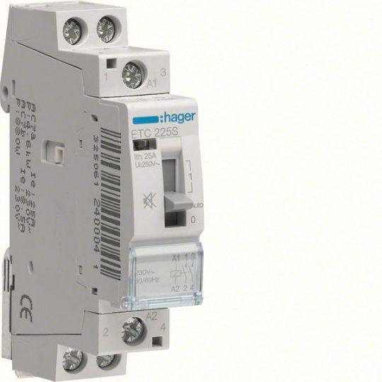 Csendes mágneskapcsoló, 2Z, 25A, 230V AC, I-0-II, moduláris, kézzel is kapcs.