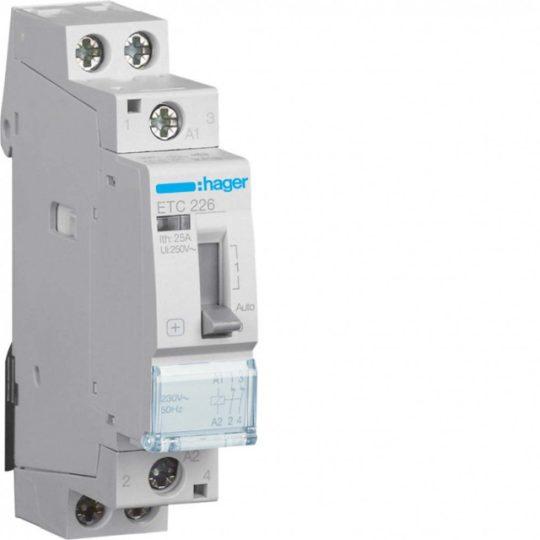 Mágneskapcsoló, 2NY, 25A, 230V AC, I-0-II, moduláris, kézzel is kapcsolható