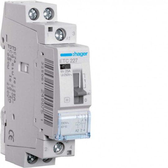 Mágneskapcsoló, 1Z+1NY, 25A, 230V AC, I-0-II, moduláris, kézzel is kapcsolható