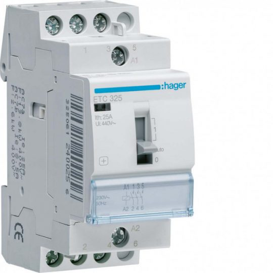 Mágneskapcsoló, 3Z, 25A, 230V AC, I-0-II, moduláris, kézzel is kapcsolható