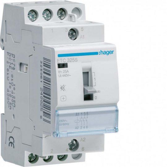 Csendes mágneskapcsoló, 3Z, 25A, 230V AC, I-0-II, moduláris, kézzel is kapcs.