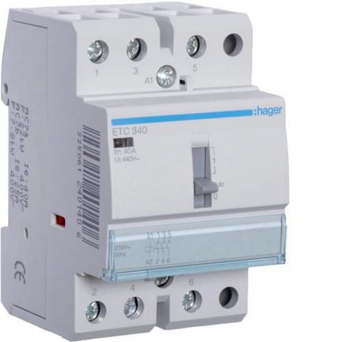 Mágneskapcsoló, 3Z, 40A, 230V AC, I-0-II, moduláris, kézzel is kapcsolható