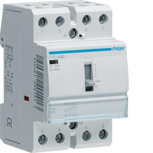 Mágneskapcsoló, 4Z, 40A, 230V AC, I-0-II, moduláris, kézzel is kapcsolható