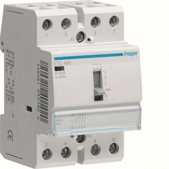 Mágneskapcsoló, 4Z, 63A, 230V AC, I-0-II, moduláris, kézzel is kapcsolható