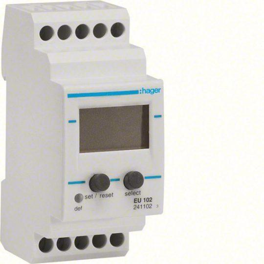 Hager EU102 Feszültségfigyelő relé, 1F, beállítható feszültség (15-700V DC / 15-480V AC) és idő (0,1-12s); +/