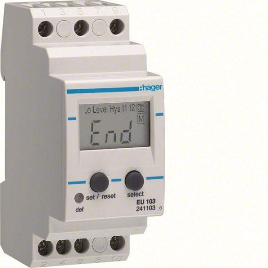 Hager EU103 Áramfigyelő relé, 1F, beállítható áram (0,1-10A; 50/5A - 600/5A) és idő (0,1-12s), +/- 5-50