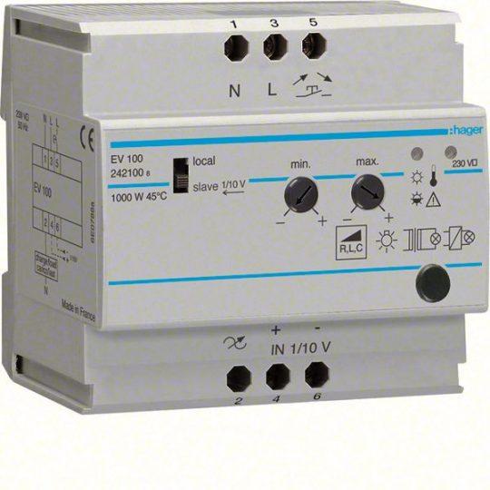 Hager EV100 Dimmer, univerzális, 1000W, Slave-ként vezérelhető, 1-10V bemenet