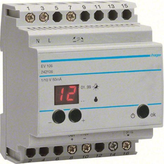 Hager EV106 Dimmer master készülék, max. 30db EV100 és EV102 vezérlésére, 1-10V kimenet, 1Z 10A