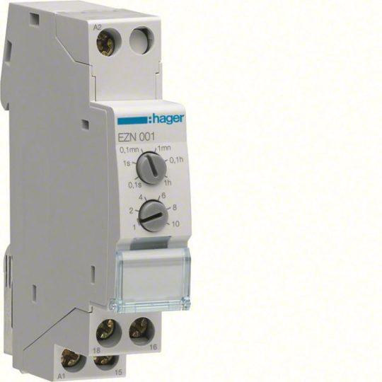 Hager EZN001 Időrelé, meghúzás késleltetéssel, 1 váltó, 10A-230V AC, 12-48V DC, 24-230V AC