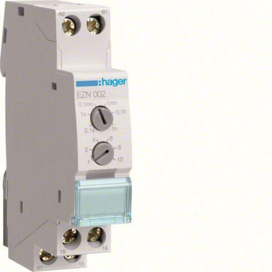 Hager EZN002 Időrelé, elengedés késleltetéssel, 1 váltó, 10A-230V AC, 12-48V DC, 24-230V AC