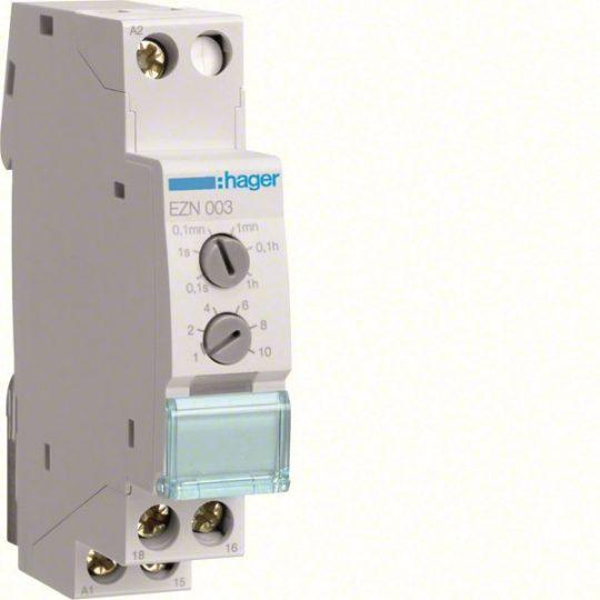 Hager EZN003 Időrelé, bekapcsolást törlő, 1 váltó, 10A-230V AC, 12-48V DC, 24-230V AC