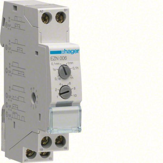 Hager EZN006 Időrelé, multifunkciós, 1 váltó, 10A-230V AC, 12-48V DC, 24-230V AC
