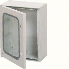 Falra szerelhető poliészter szekrény, átlátszó ajtóval, 650x400x200, IP65, szerelőlap nélkül, Orion plus (Hager FL266B)