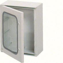Falra szerelhető poliészter szekrény, átlátszó ajtóval, 650x500x250, IP65, szerelőlap nélkül, Orion plus (Hager FL271B)