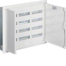 Fém mezős elosztó, 144 modul, 4 sor, 703x853x110mm, teli ajtóval, IP30, süllyesztett, Univers (Hager FW43US2)