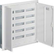Fém mezős elosztó, 180 modul, 5 sor, 853x853x110mm, teli ajtóval, IP30, süllyesztett, Univers (Hager FW53US2)
