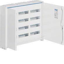 Fém mezős elosztó, 144 modul, 4 sor, 650x800x161mm, teli ajtóval, IP44, falon kívüli, Univers (Hager FWB43)