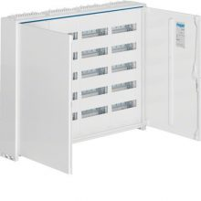 Fém mezős elosztó, 240 modul, 5 sor, 800x1050x161mm, teli ajtóval, IP44, falon kívüli, Univers (Hager FWB54)