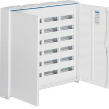 Fém mezős elosztó, 288 modul, 6 sor, 950x1050x161mm, teli ajtóval, IP44, falon kívüli, Univers (Hager FWB64)