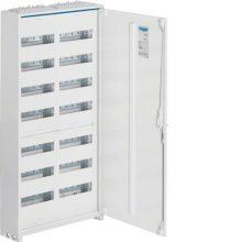 Fém mezős elosztó, 168 modul, 7 sor, 1100x550x161mm, teli ajtóval, IP44, falon kívüli, Univers (Hager FWB72)