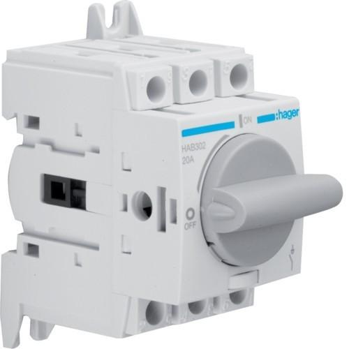 Hager HAB302, moduláris terheléskapcsoló 3P 20A 380/415V (Hager HAB302)