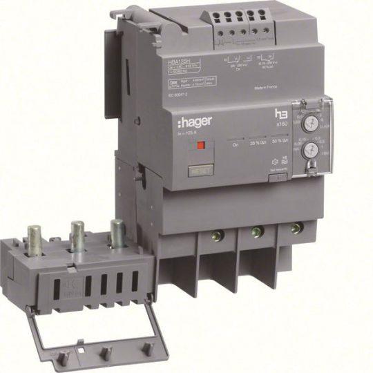 Hager HBA125H x160 áramvédő-kapcsoló blokk, 3P; 0,03-6A; 0,06-1s; 125A