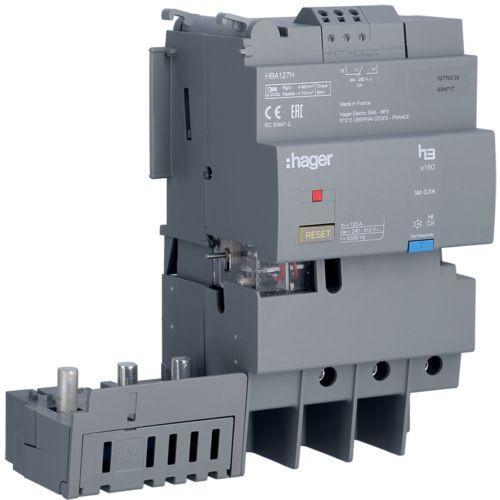 Hager HBA127H x160 áramvédő-kapcsoló blokk, 3P, 300mA, 125A, fix