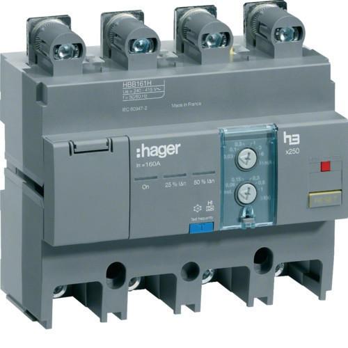 Hager HBB161H x250 áramvédő-kapcsoló blokk, 4P; 0,03-6A; 0,06-1s; 160A